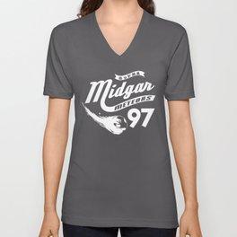 Gamer Geeky Chic FF7 Inspired Midgar Meteors Baseball Style Design Unisex V-Neck