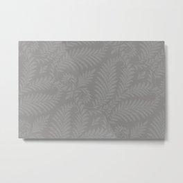 Pantone Pewter Fancy Leaves Scroll Damask Pattern Metal Print