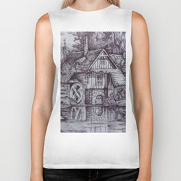 a boiler house in the forest with a stream. Biker Tank