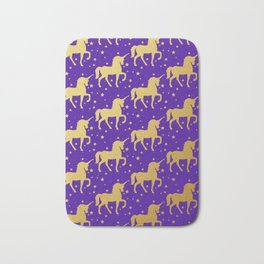 Purple and Gold Unicorn and Stars Pattern Bath Mat