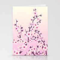 cherry blossoms Stationery Cards featuring Cherry Blossoms by Nina Baydur