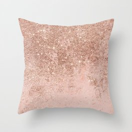 Girly blush coral faux rose gold glitter marble Throw Pillow