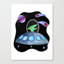 Dinosaur Astronauts In Space Pink Watercolor Pattern Canvas Print