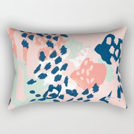 Kala - abstract painting minimal coral mint navy color palette boho hipster decor nursery Rectangular Pillow
