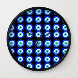 Evil Eye Amulet Talisman - on black Wall Clock