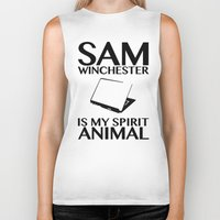 sam winchester Biker Tanks featuring Sam Winchester is my spirit animal by ElectricShotgun