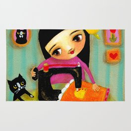 Little sewing girl with black cat Rug