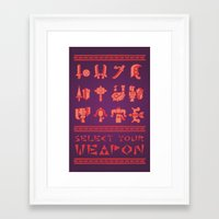 monster hunter Framed Art Prints featuring Monster Hunter: Select Your Weapon by KEITHXIII