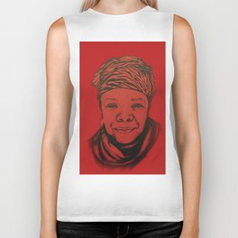 Maya Angelou - (red) Original Sketch to Digital Biker Tank