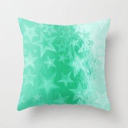 Turquoise Starshine Throw Pillow