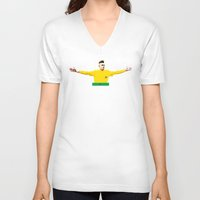 neymar V-neck T-shirts featuring Neymar Brasil by lockerroom51