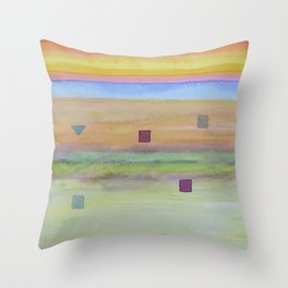 Romantic Landscape combined with Geometric Elements Throw Pillow