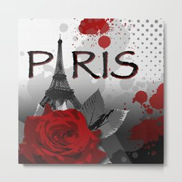 Trash Polka Paris Eiffel Tower Metal Print