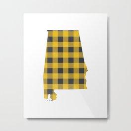 Alabama Plaid in Yellow Metal Print