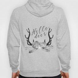 Hello Deer Antler Floral black & white minimalist nursery design Hoody