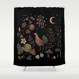 Wild Chicken with Autumn Vines Shower Curtain