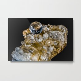 Crystal Ball Resting on quartz Crystals Metal Print
