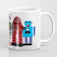 robots Mugs featuring robots by notbook