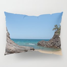 Tropical beach with rock Pillow Sham