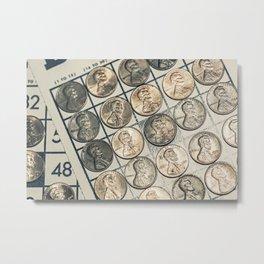 Vintage Bingo Board Game 9 Metal Print