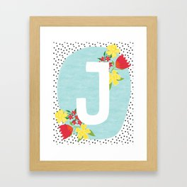 J botanical monogram. Letter initial with tulips and daffodils poster Framed Art Print