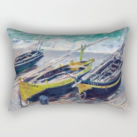 Three Fishing Boats by Claude Monet Rectangular Pillow