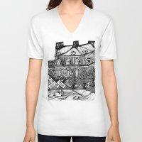 copenhagen V-neck T-shirts featuring Copenhagen by intermittentdreamscapes