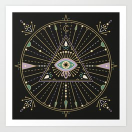 Evil Eye Mandala – Black Art Print