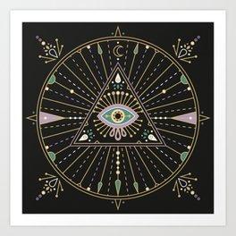 Evil Eye Mandala – Black Kunstdrucke