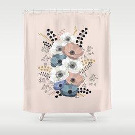 Anemones bouquet pink pastel Shower Curtain