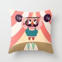 muscle Throw Pillows featuring Monsieur Muscle  by Geekygirl