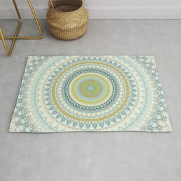 Light Yellow Aqua Mandala Rug