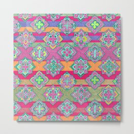 Color Pop Doodle Pattern in Peach, Pink, Purple & Emerald Green Metal Print