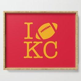 I love Kansas City Football Serving Tray