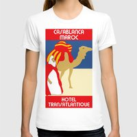 casablanca T-shirts featuring Vintage style 1920s Casablanca travel advertising by aapshop