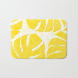 Mellow Yellow Monstera Leaves White Background #decor #society6 #buyart Bath Mat