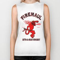 whisky Biker Tanks featuring Firemaul Whisky by Ant Atomic