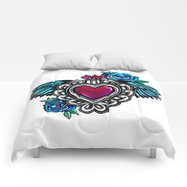 Sacred Heart White Background Comforters