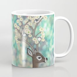 white tailed deer, white breasted nuthatches, & dogwood blossoms Coffee Mug