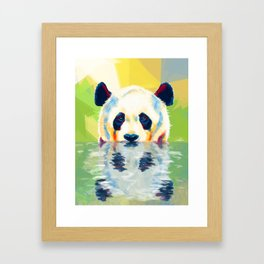 Panda taking a bath Framed Art Print