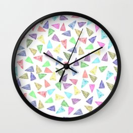 Hand painted pastel pink teal green watercolor triangles Wall Clock