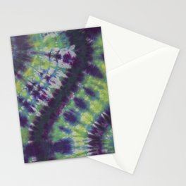 Spiral Tie Dye Purple Green Blue Yellow Stationery Cards