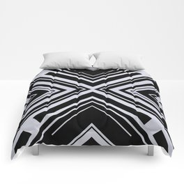 Black and White X Tribal Pattern Shapes Geometric Geometry Contrast I Comforters