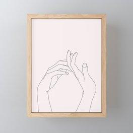 Hands line drawing illustration - Abi Natural Framed Mini Art Print