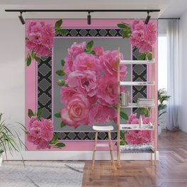 VICTORIAN STYLE CLUSTERED PINK ROSES ART Wall Mural