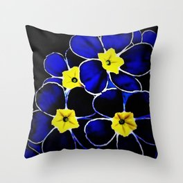 'Blue Evening Primrose on the Pawtuxet' portrait still life Throw Pillow