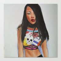 aaliyah Canvas Prints featuring Aaliyah fashion  by ShastaMD