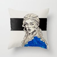 mother of dragons Throw Pillows featuring Mother Of Dragons by Fatma Sahem