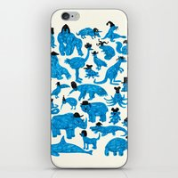 hats iPhone & iPod Skins featuring Blue Animals Black Hats by WanderingBert / David Creighton-Pester
