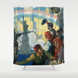 Immigrants and The Statue of Liberty Artwork Shower Curtain